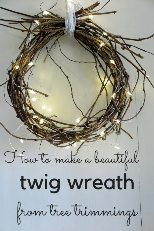 How to make a beautiful Christmas twig wreath from tree trimmings #christmasdecorations #christmastime