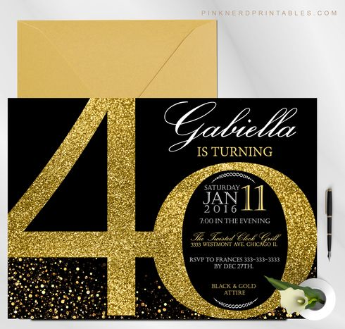 Milestone Birthday Invitation 20th 30th 40th 50th Glitter Gold Black And