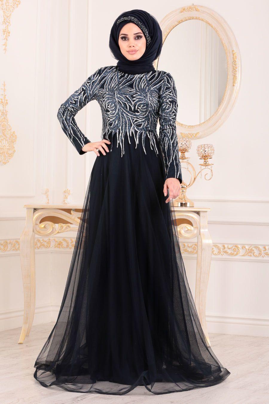 9c2d438b04224 Tesettürlü Abiye Elbise - Simli Desenli Lacivert Tesettür Abiye Elbise  20690L