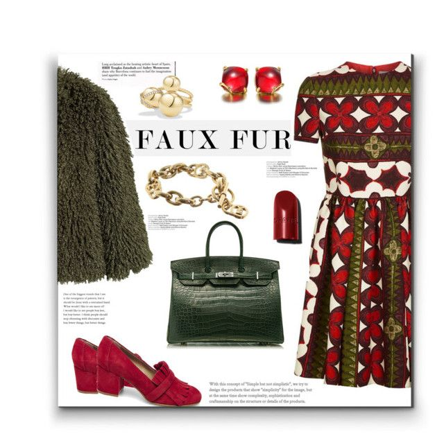 """""""For Faux Fur Fun"""" by alynncameron ❤ liked on Polyvore featuring Valentino, Anna Sui, Steve Madden, Hermès, Michael Kors, David Yurman and fauxfurcoats"""