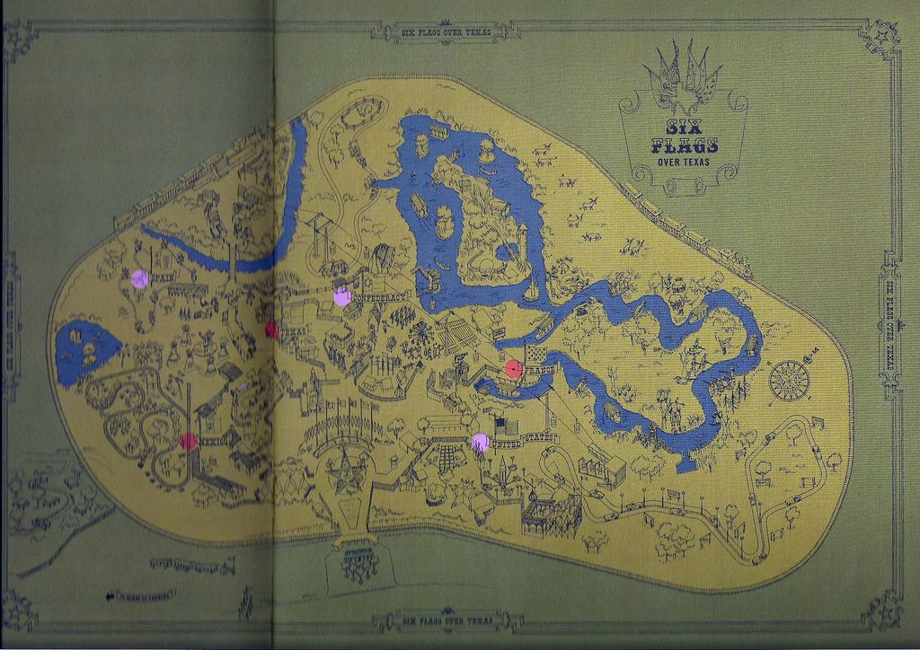1961 Six Flags Over Texas Map Six Flags Six Flags Over Texas Texas Map