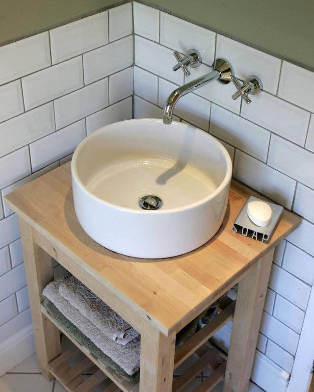 Un Meuble Pour Un Lave Main Avec Une Desserte Bekvam Et Un Lavabo Tornviken Ikea Mobilier De Salon Ikea Detournement Meuble Ikea