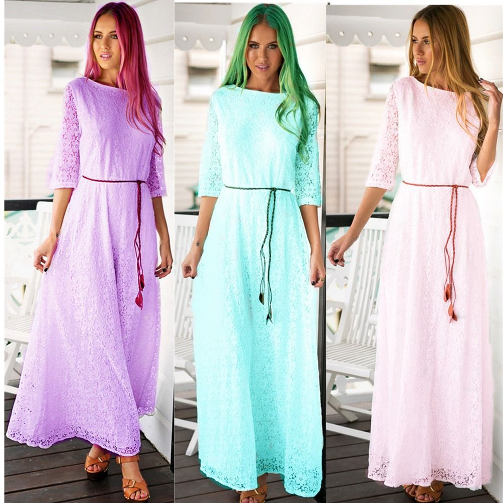 Halbe hülse elegante Lange Kleid frauen spitze-häkelarbeit vestido ...