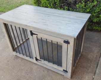 Dog Kennel Painted bottom Stain top tv stand end stand. Dog Crate TableDiy  ...