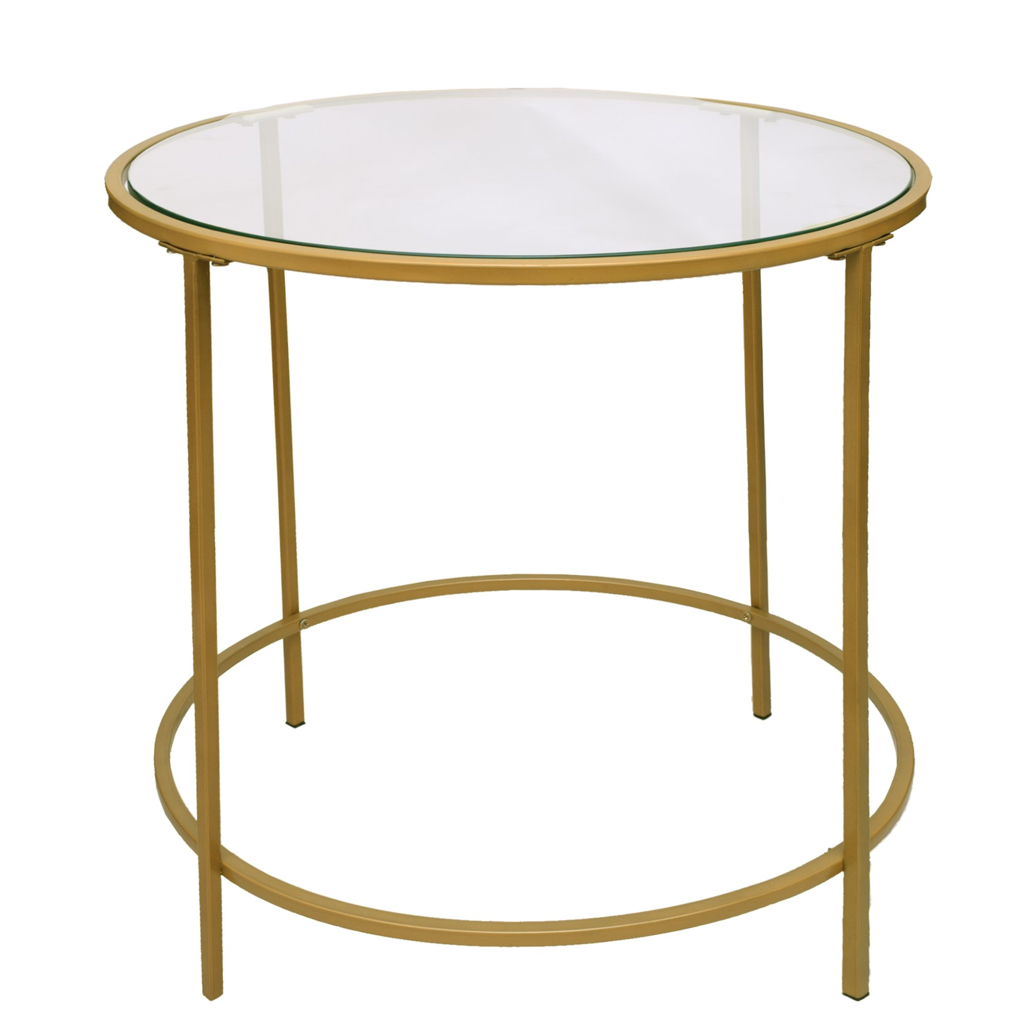 Contemporary Style Round Metal Framed End Table With Glass Top