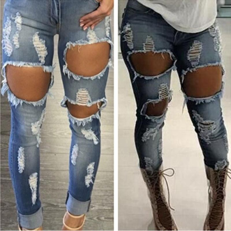 e31a4fa53a9 Sexy Jeans Women Destroyed Ripped Distressed Woman Fashion Casual Hole Denim  Slim Pants Sexy Jeans Trousers Pants www.essish.com
