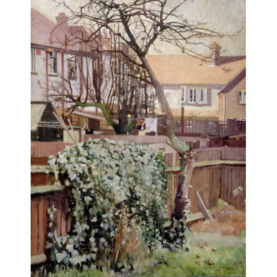 Harry Bush, December Sunshine shows the artist's house in Queensland Avenue, Merton in 1925.