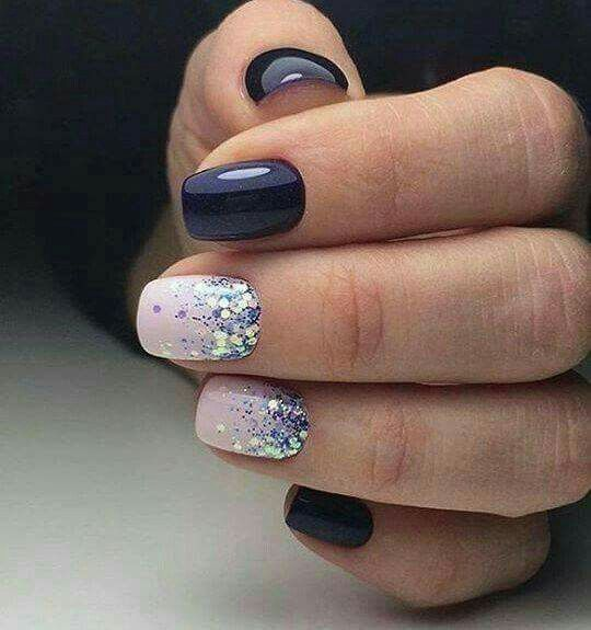 Navy Blue And Light Pink Glitter Nails So Cute So Elegant
