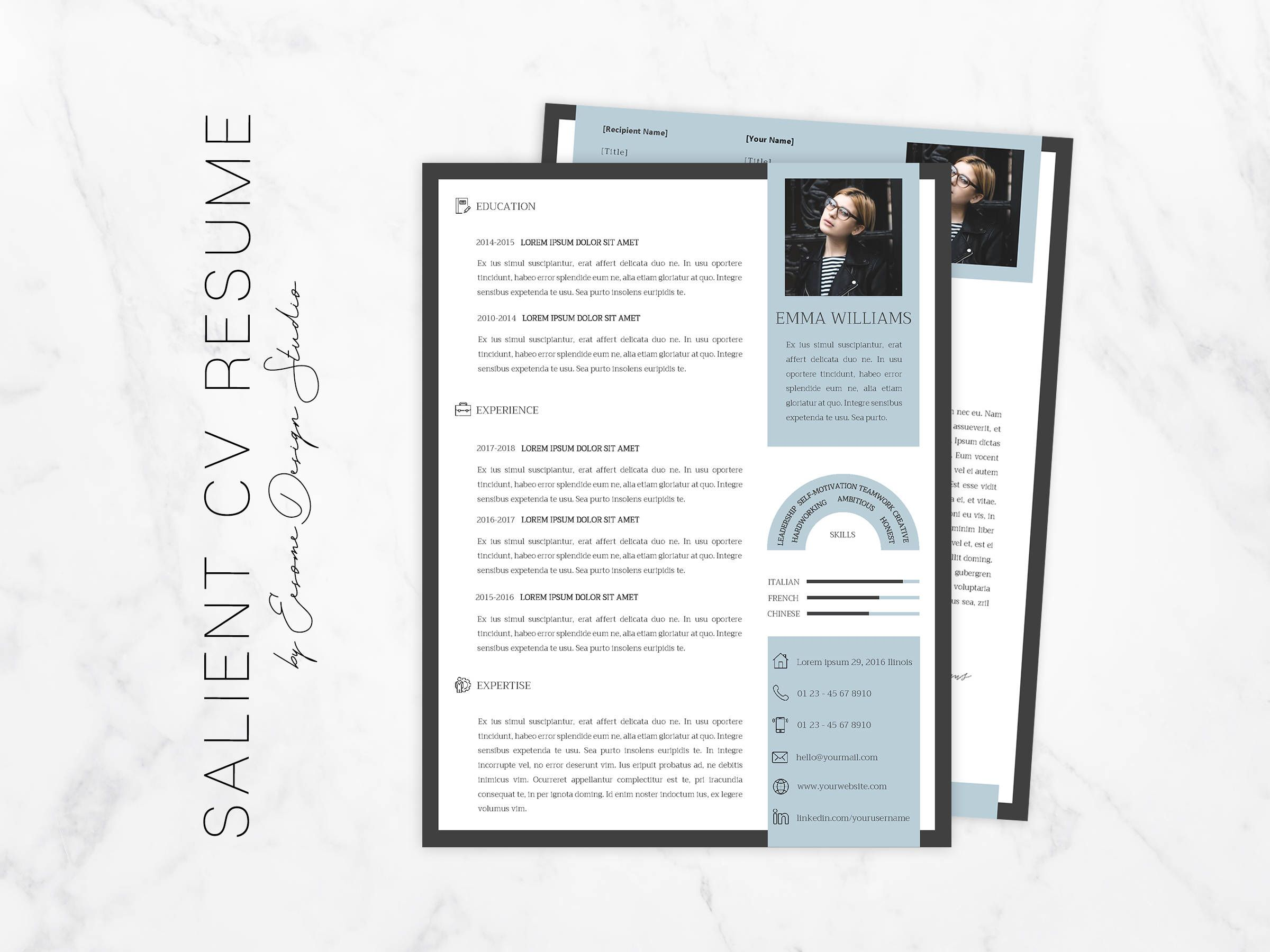 Simple Modern CV Resume Word Template and Cover Letter,CV Design ...