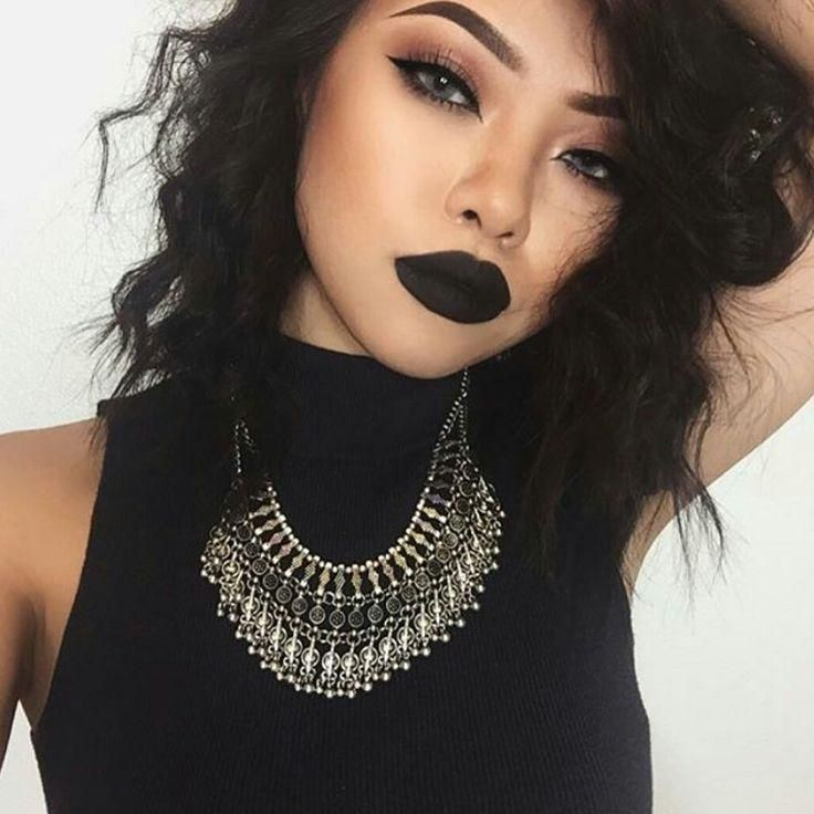 #blacklipstick #edgy #makeup