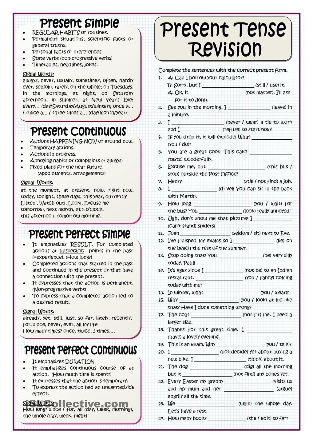 hight resolution of PRESENT TENSES REVISION   English grammar worksheets
