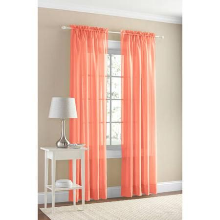 Mainstays Marjorie Sheer Voile Curtain Panel Walmart Com Panel Curtains Sheer Curtain Panels Curtains