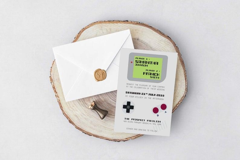 PRINTABLE Nintendo Wedding Invitation template | Video game wedding invitation | Game boy invitation | Geek wedding invitation Save the date