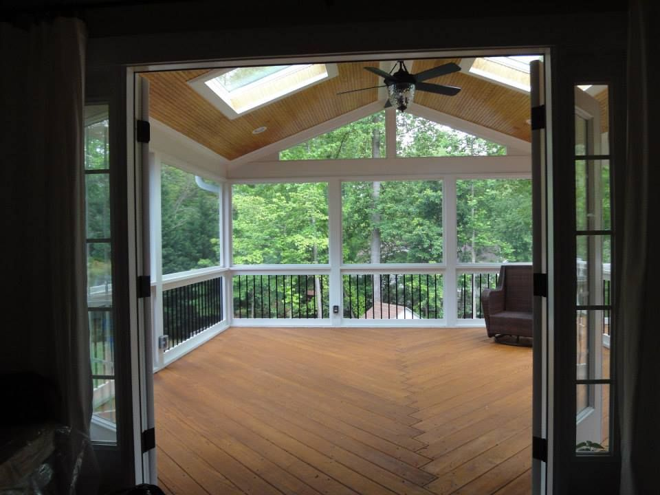 Raleigh Screen Porch With New Double Out Swing French Doors