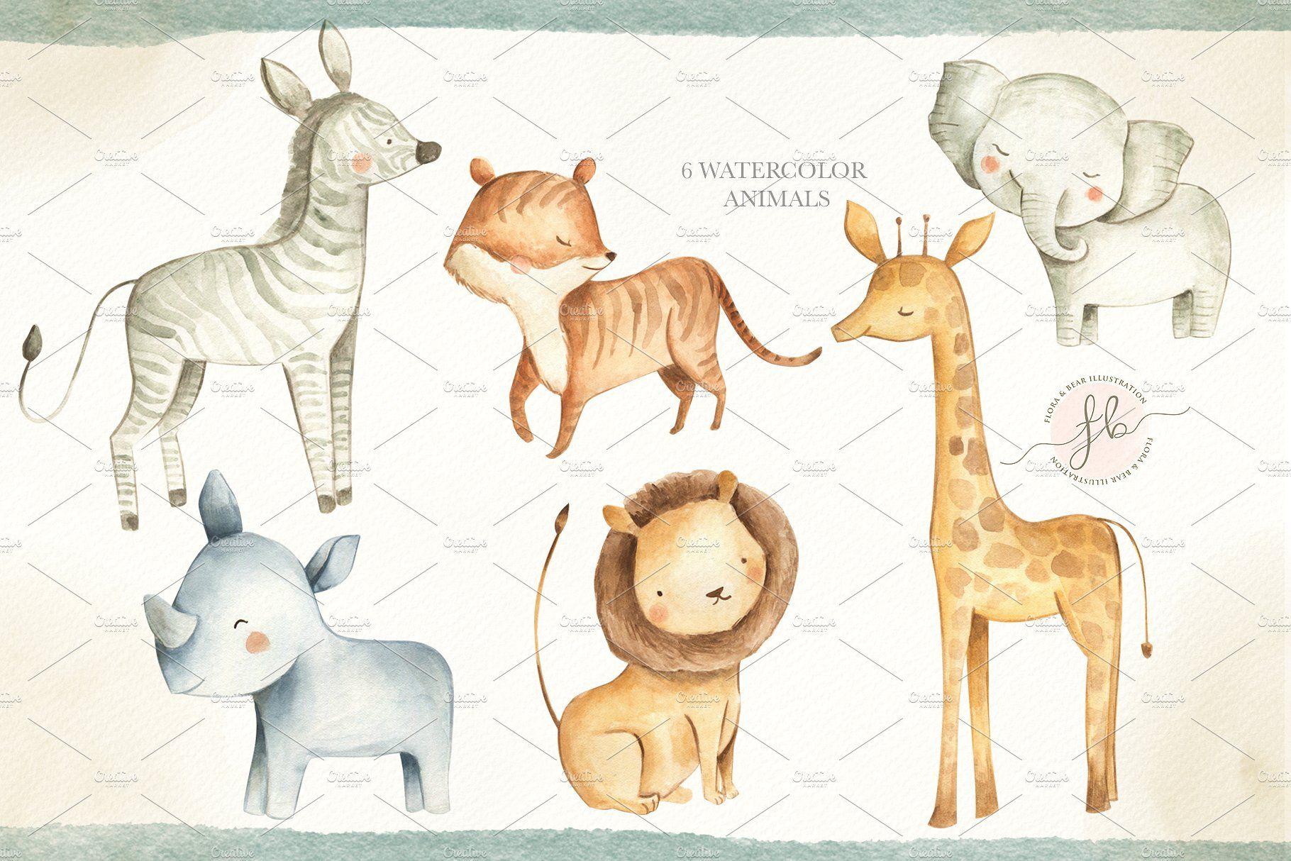 Safari Animals Safari Animals Watercolor Animals Baby Animals