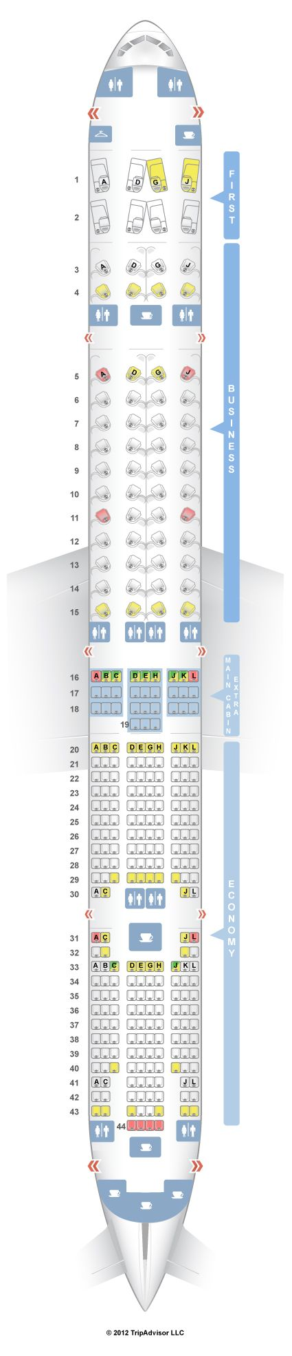 SeatGuru Seat Map American Airlines Boeing ER W - Airline flights map of france to us