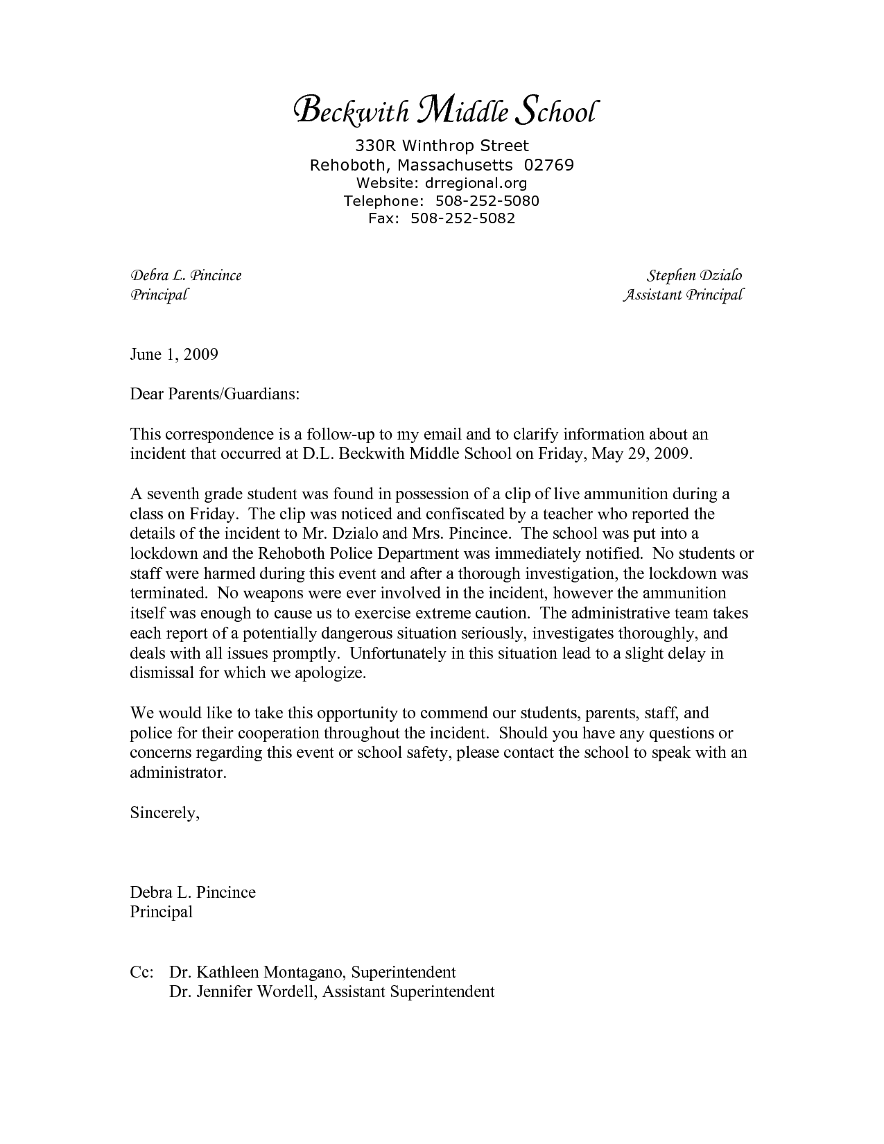 Sample Of Incident Report Letter In School Yahoo Image