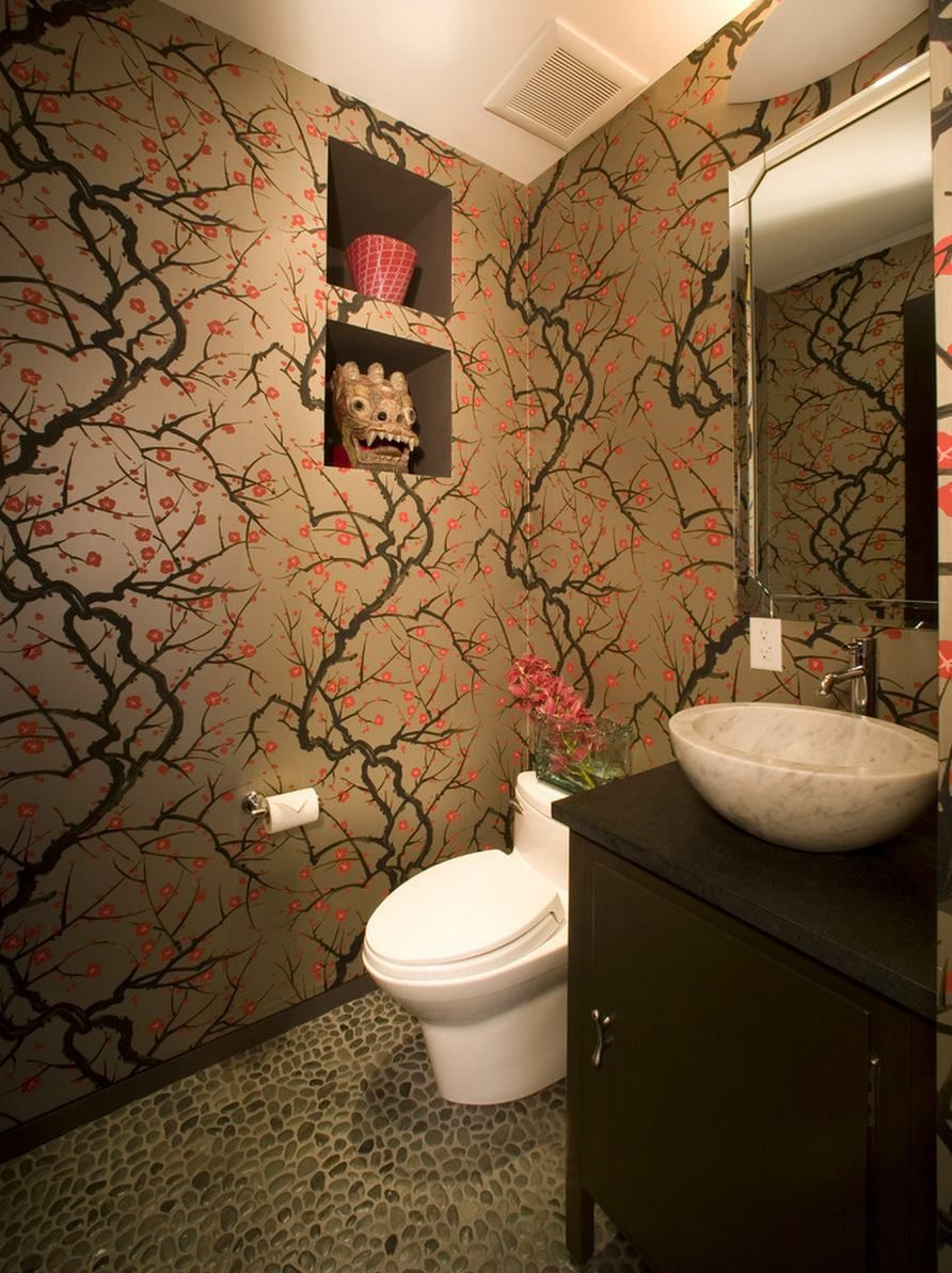 Badezimmer Wallpaper Hd Asian Flair In A Bathroom With Cherry Blossom Wallpaper Decoist