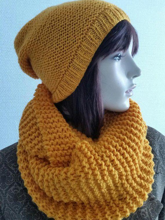 19e8d8a9313 Ensemble écharpe tube bonnet moutarde-Tube Scarf Set-Wool scarv-Snood 2  Turns   Mustard Color Hat-Set choker bonnet-winter accessoiries