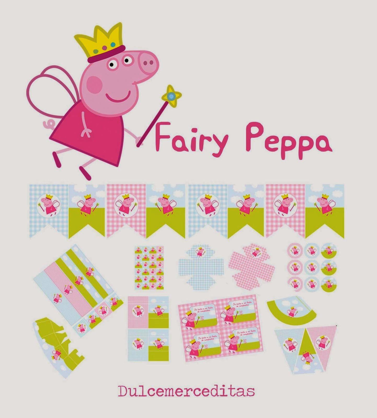 Convite de Aniversário Peppa Pig amigas da peppa e fada