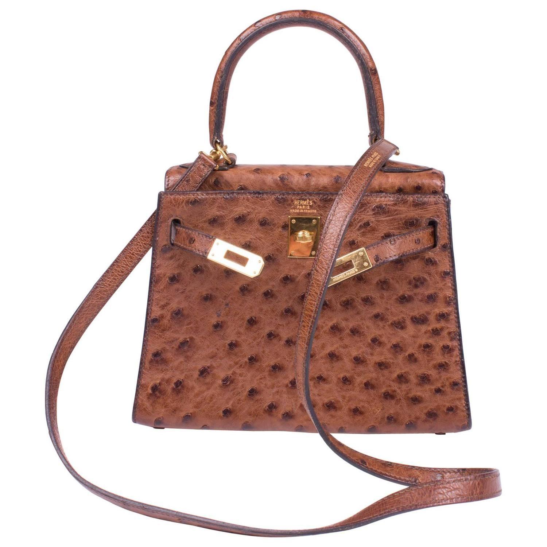 1stdibs Brown Ostrich Vintage Leather Bag 7sUhrx8VYP