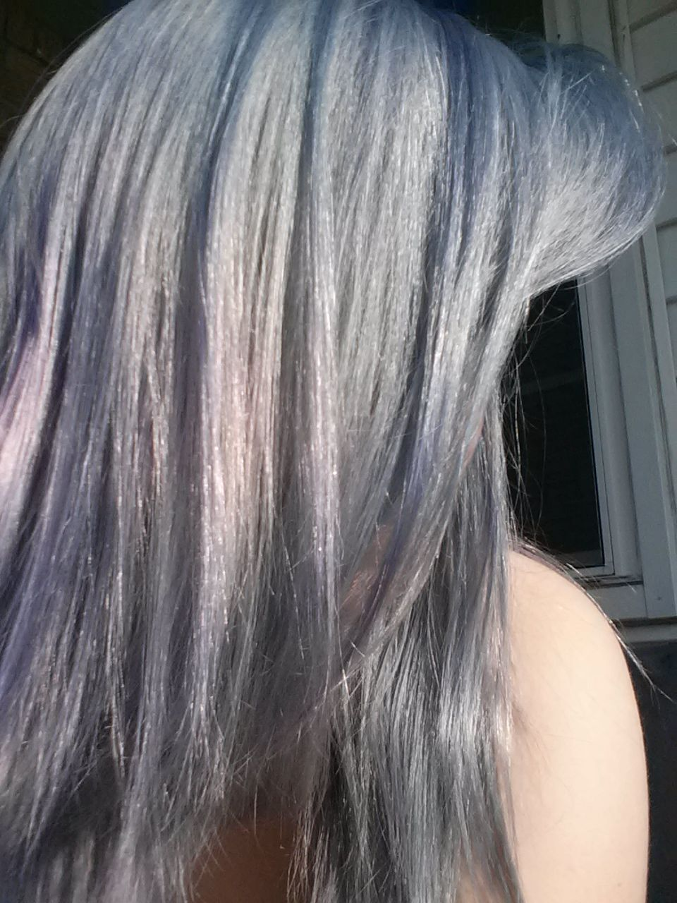 Beautiful grey hair ion color brilliance in titanium hair