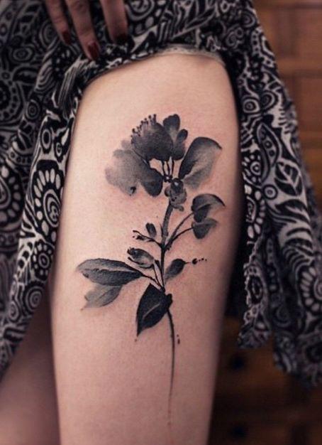 Seductive Monochrome Watercolor Flower Tattoo On Thigh Flower Thigh Tattoos Thigh Tattoo Designs Tattoos