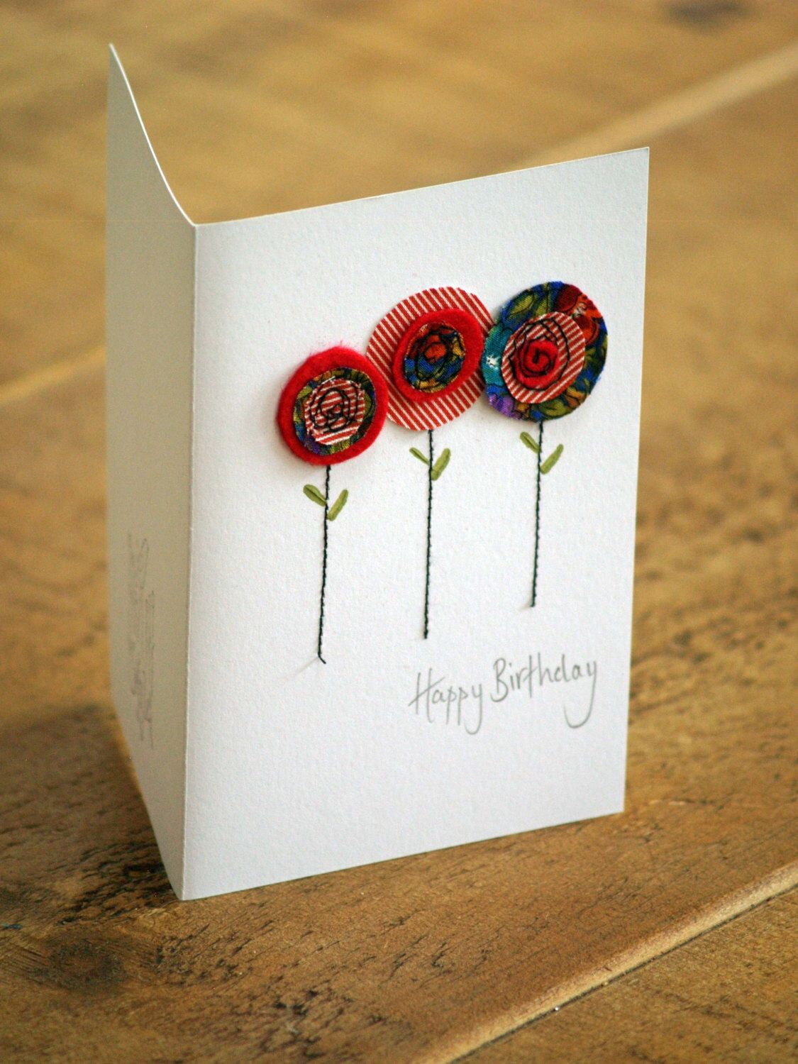 Handmade Poppy Card Red Poppy Fabric Card With Hand Stitching Hand