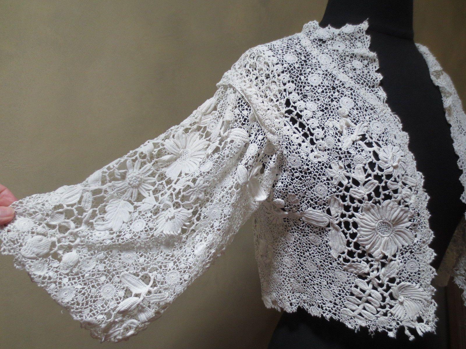 Lovely Antique Irish Crochet Lace Blouse or Bolero Jacket | eBay ...