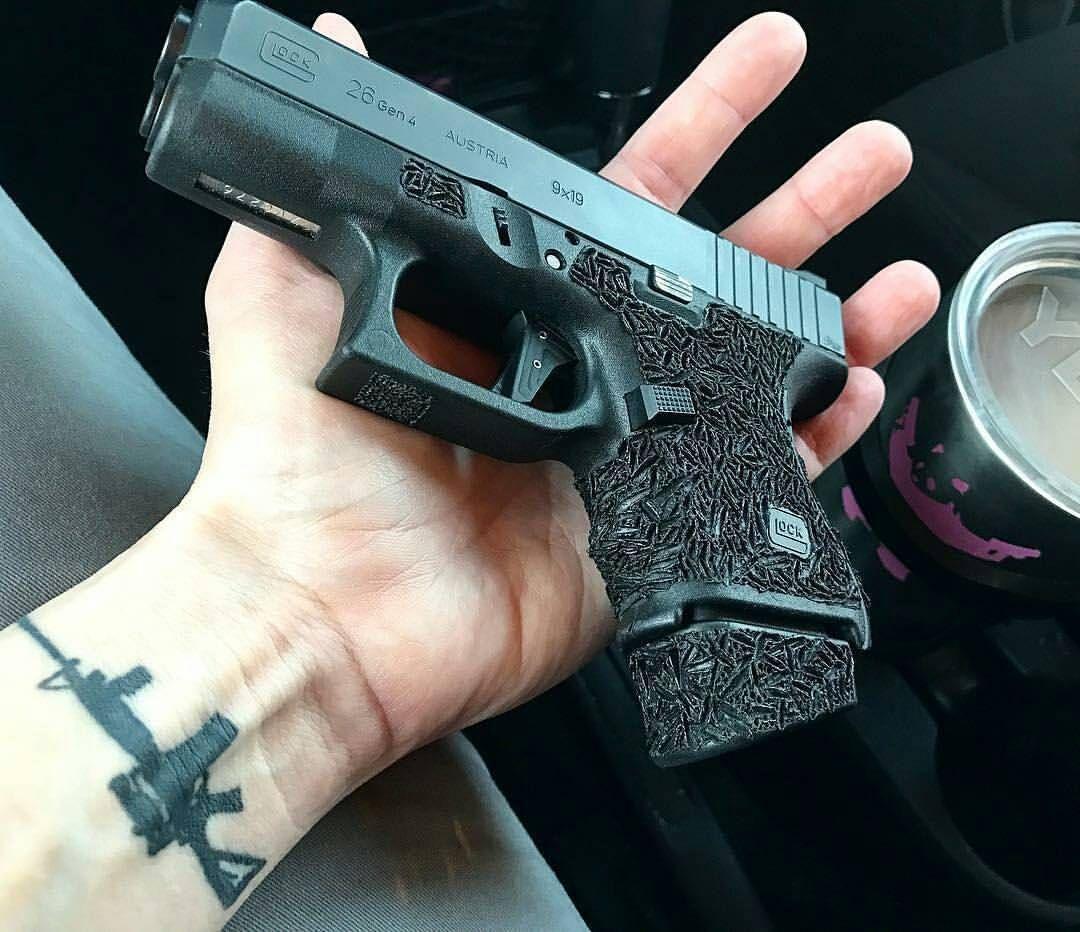 Photo from @hardboiledheather - Morning, everyone.  . . . #glockporn #glock #glock26 #stipple #stippledglock #trigger #9mm #yeti #humpday #coffee #panda #tacticalpanda #glocks #gun #police #military #trump -#weapon #selfdefense #sickguns...