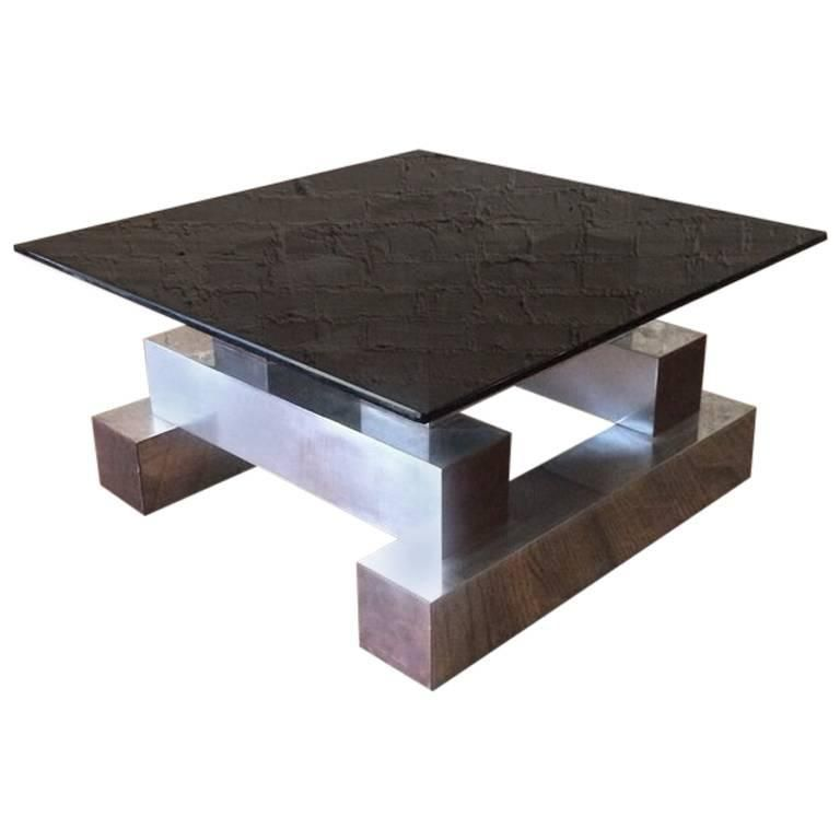 Terrific Aluminum Brass And Glass Architectural Coffee Table In The Machost Co Dining Chair Design Ideas Machostcouk