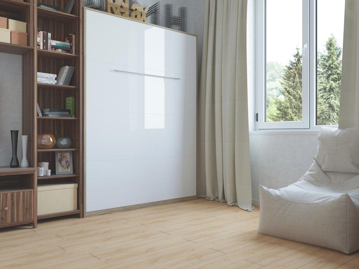 Schrankbett 140cm Vertikal Eiche Sonoma / Front Weiss... | LIVING ...