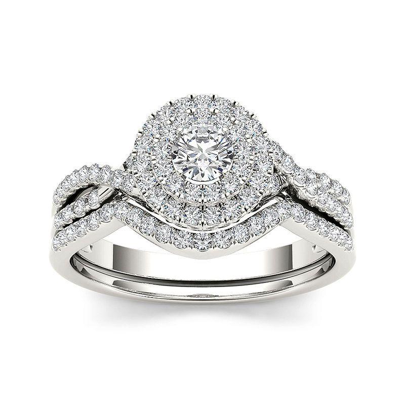 34 ct tw diamond halo 14k white gold bridal ring set