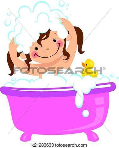 Baby Kid Girl Bathing In Bath Tub And Washing Hair Clipart Bath