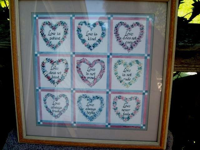VTG Home Interiors LOVE IS Hearts Framed MATTED ART SIGNED CHARLES