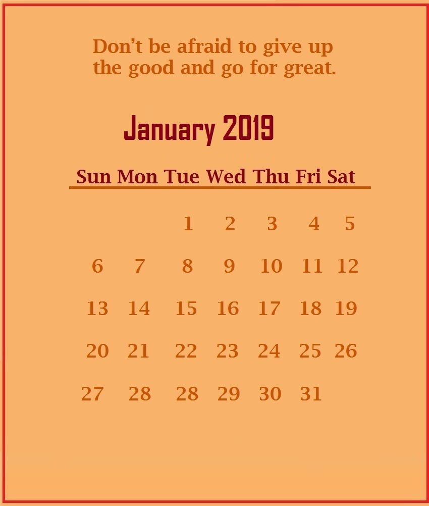 January 2019 Motivational Quotes Calendar Template