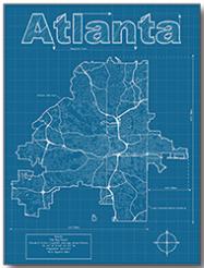 Atlanta city blueprint map by christopher estes georgia atlanta city blueprint map by christopher estes georgia malvernweather Images