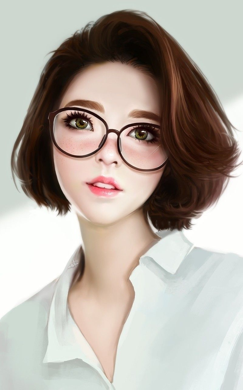 Cute woman women with glasses artwork