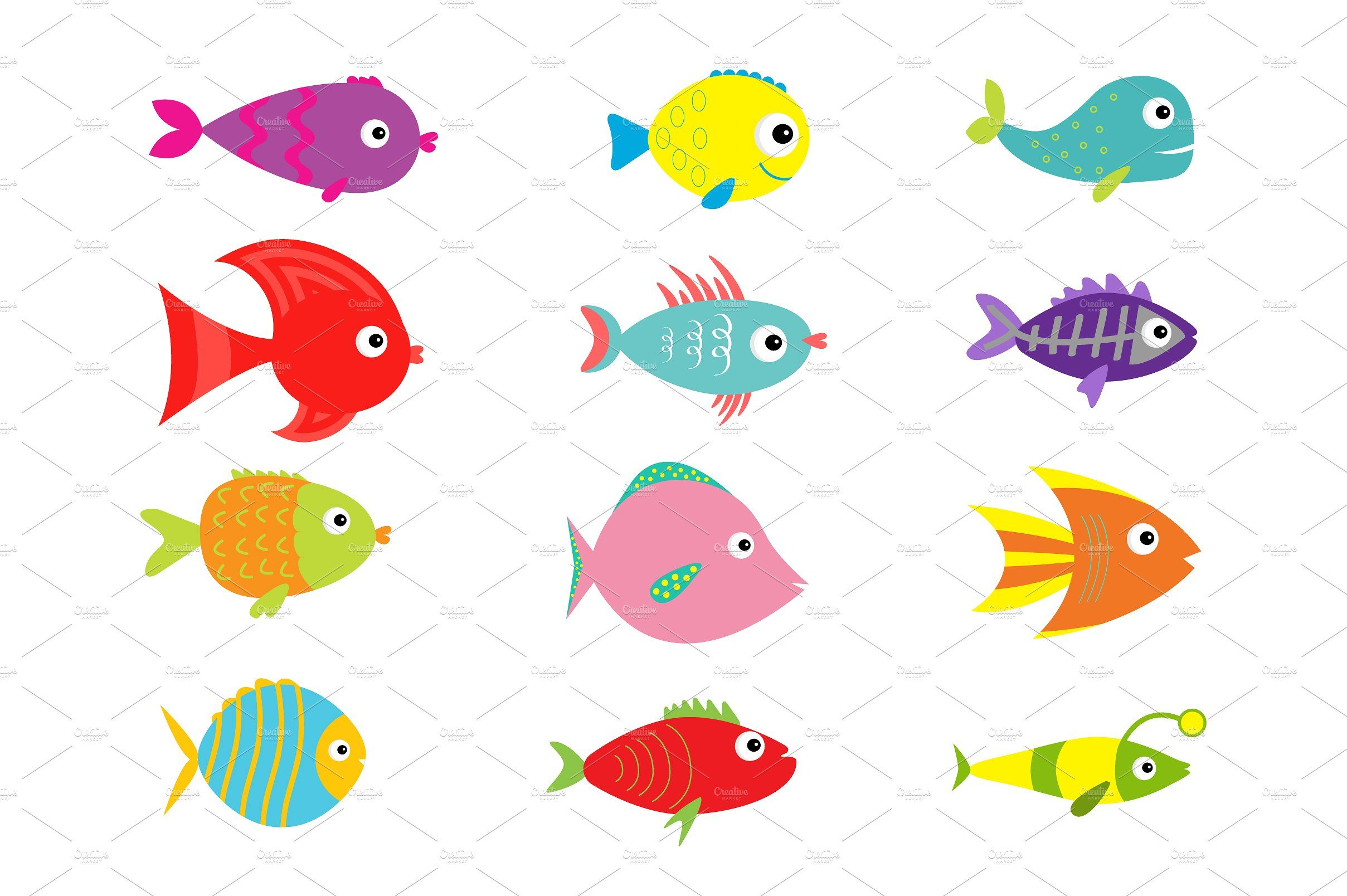 Cute Fish Set Cute Fish Fish Illustration Creation Bible Crafts