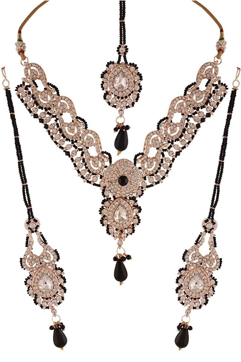 Elegant black diamond necklace set indian jewelry pinterest
