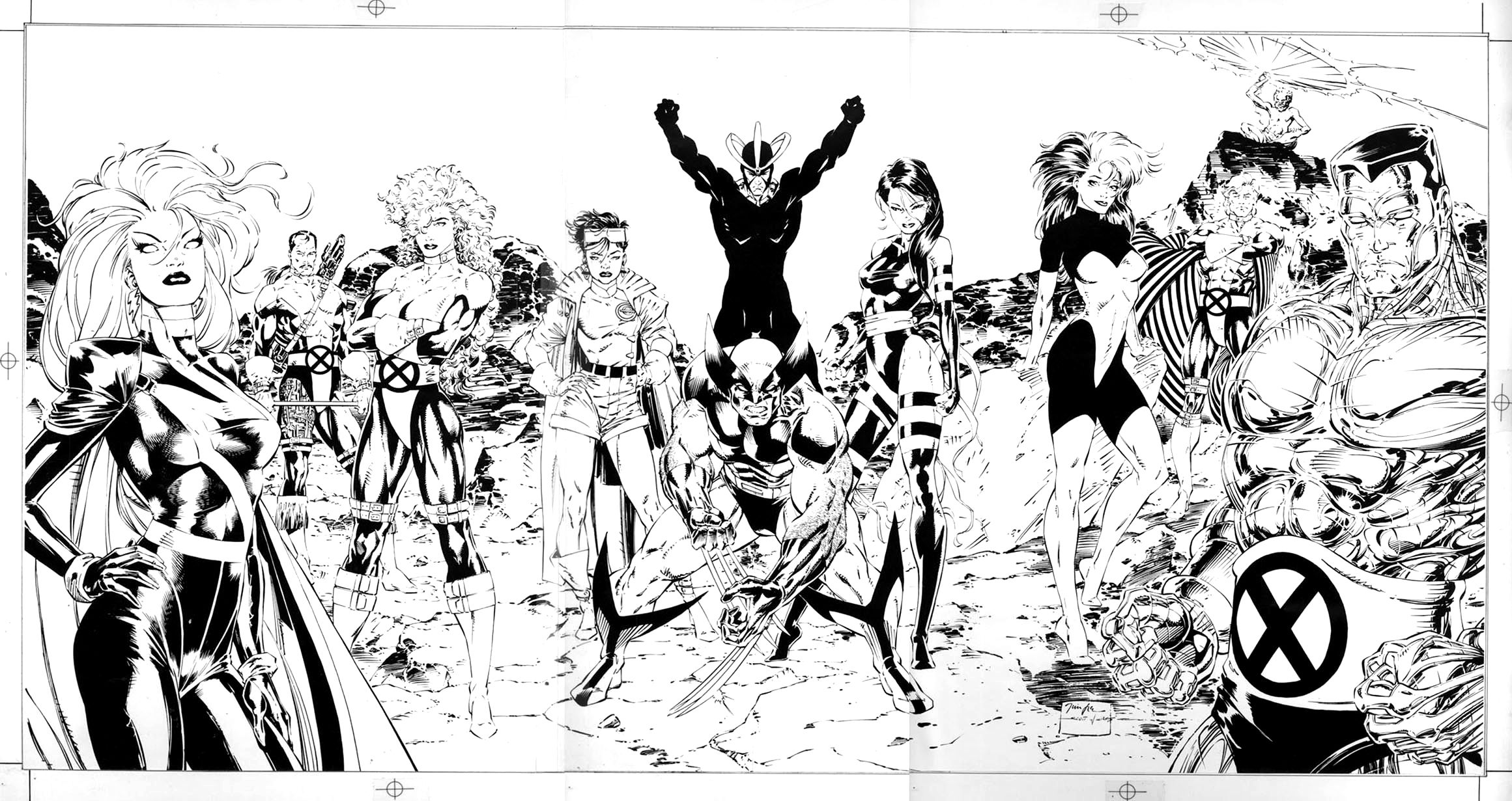 x men triptych 1991 poster art parts 1 2 3 by jim lee X-Men Origins Wolverine x men triptych 1991 poster art parts 1 2 3 by jim lee scott wiiliams in michael bair s ics production art
