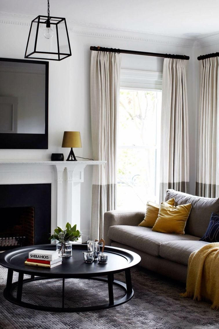 Two tone curtains | Window treatments | Pinterest | Yellow curtains ...