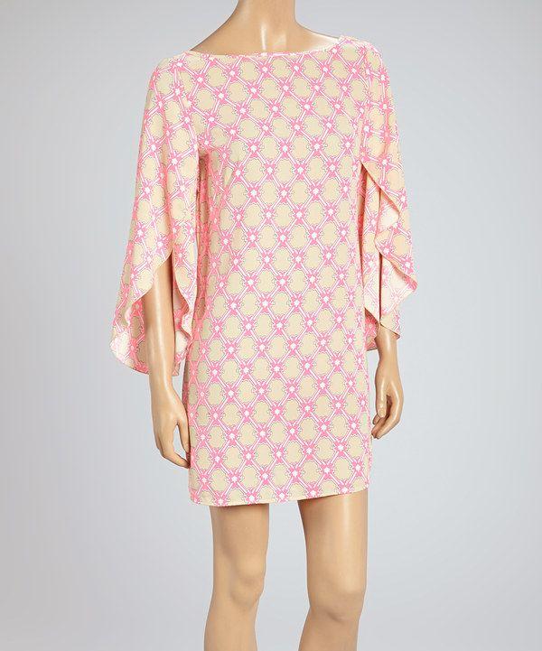 Look at this #zulilyfind! Neon Pink & Beige Lattice Bishop Sleeve Shift Tunic by Adrienne #zulilyfinds