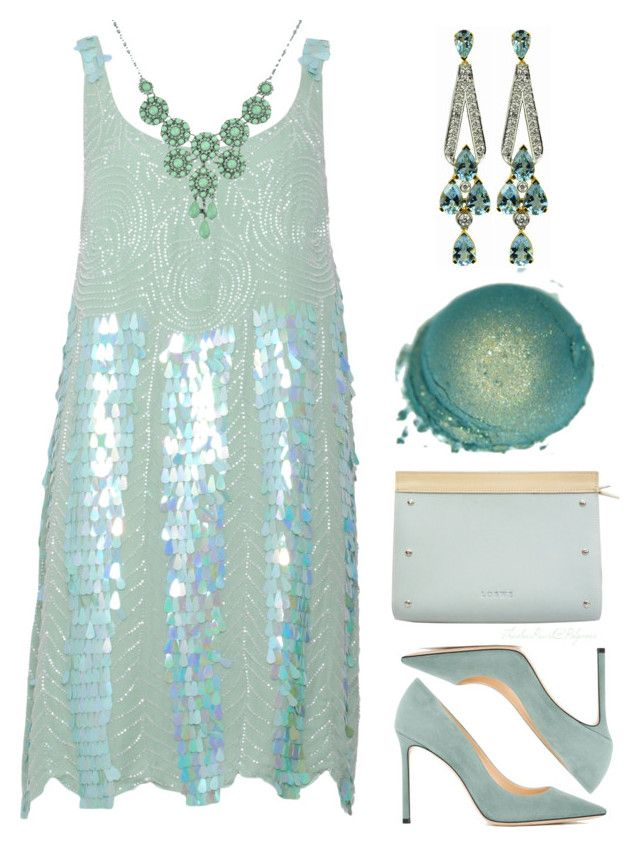 """""""Perfect Party Dress: Aqua Mint"""" by theseapearl ❤ liked on Polyvore featuring LUCY IN DISGUISE, Jimmy Choo, Loewe, Luis Miguel Howard, partydress and splurgegifts"""