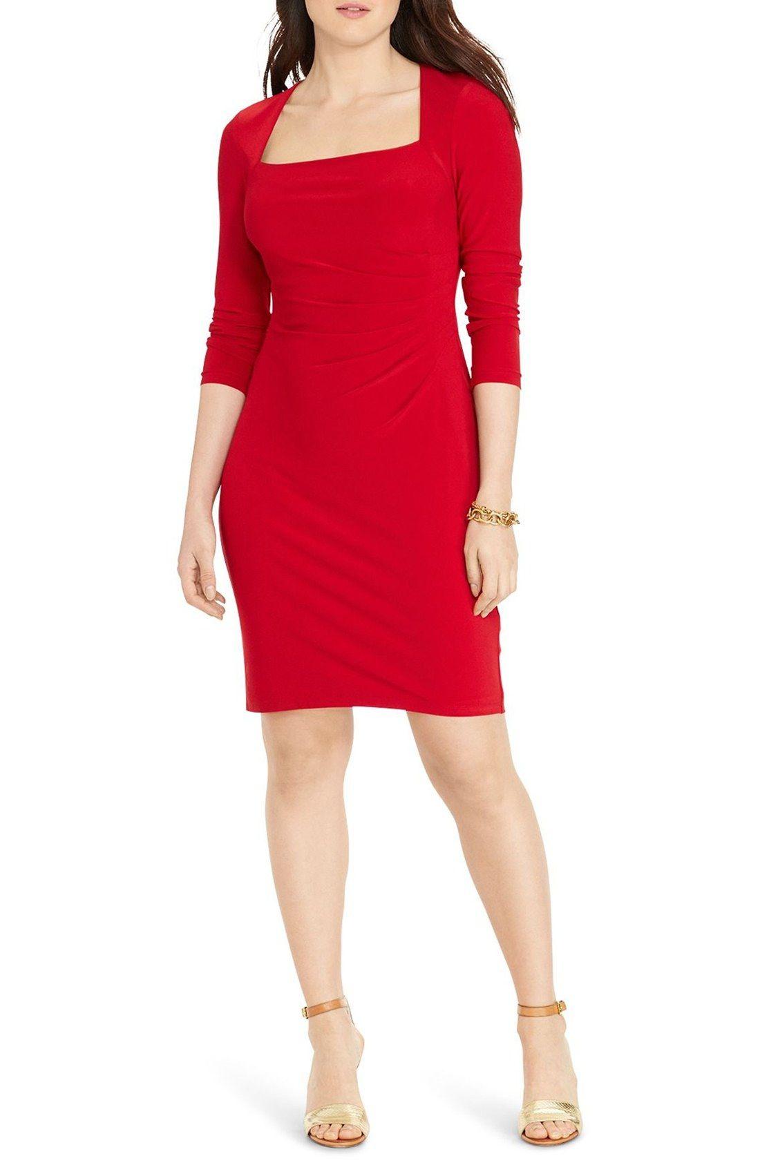 Lauren ralph lauren square neck jersey sheath dress plus size