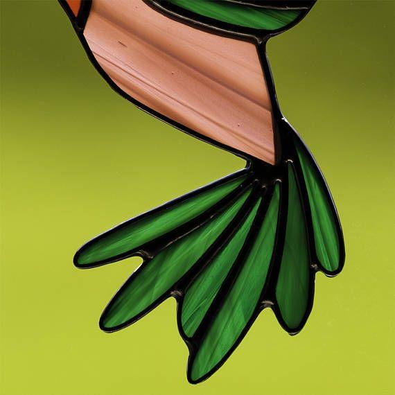 Gebrandschilderd glas groene en paarse kolibrie suncatcher