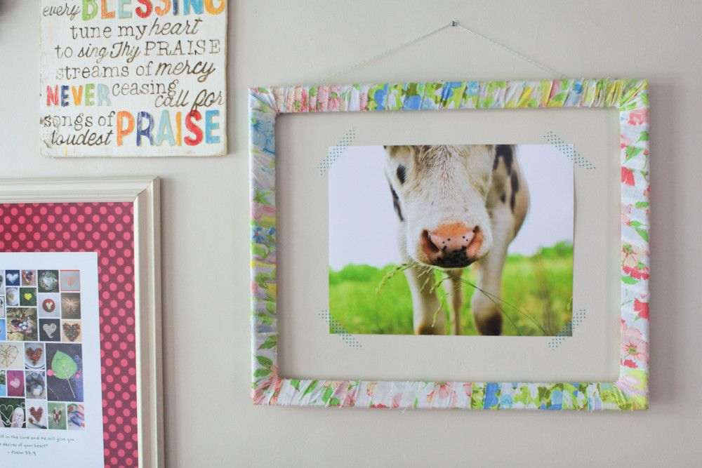 Fabric wrapped frame with washi taped print. at Meg Duerksen\'s Craft ...