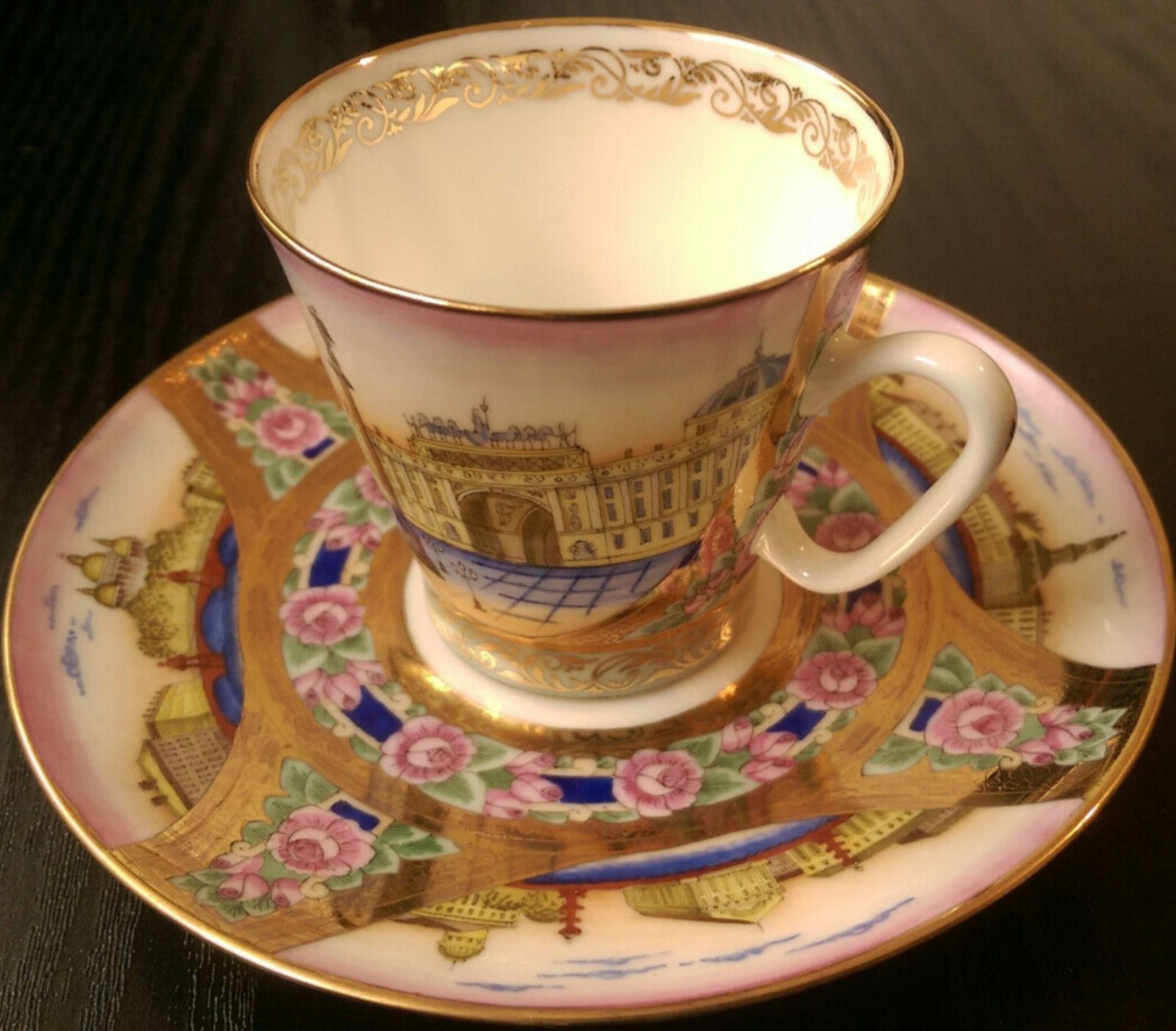 Unique Collectable Imperial Lomonosov Cup And Saucer Hand Painted Real Gold Ebay In 2020 Tea Cups Saucer Cup And Saucer