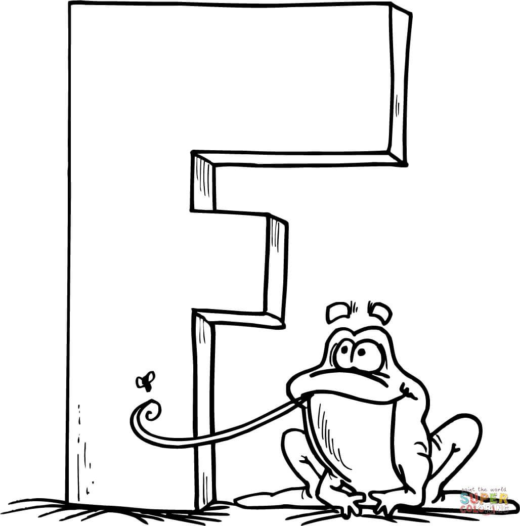 F Is For Frog Coloring Page Display