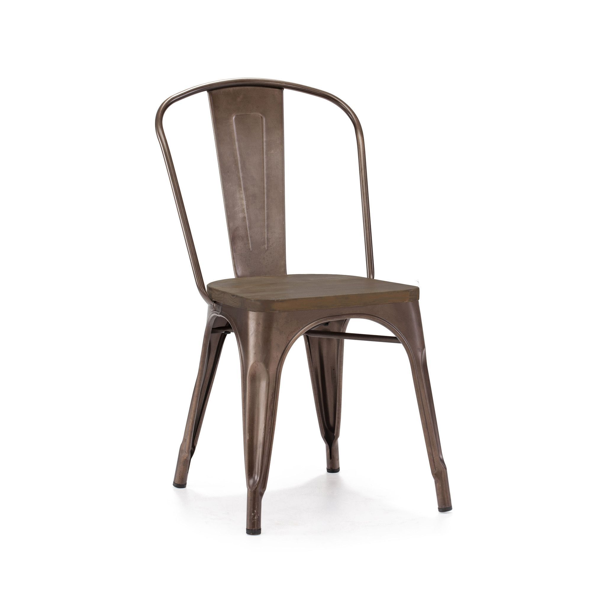 Tolix Style Stackable Rustic Matte Gunmetal Elm Wood Side Chair